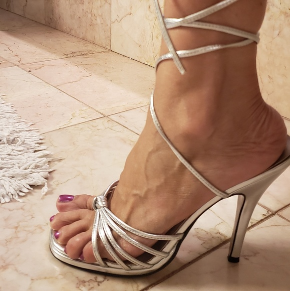 Strap Silver High Heel Sandal   Poshmark